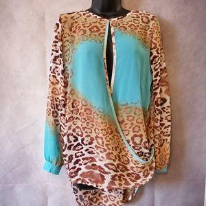Artistic Leopard Sheer Blouse